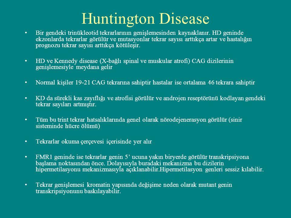 Huntington Disease Bir gendeki trinükleotid tekrarlarının genişlemesinden kaynaklanır. HD geninde ekzonlarda tekrarlar görülür ve mutasyonlar tekrar s