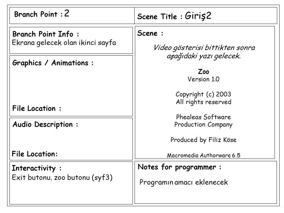 2 Giriş2 Ekrana gelecek olan ikinci sayfa Video gösterisi bittikten sonra aşağıdaki yazı gelecek. Zoo Version 1.0 Copyright (c) 2003 All rights reserv