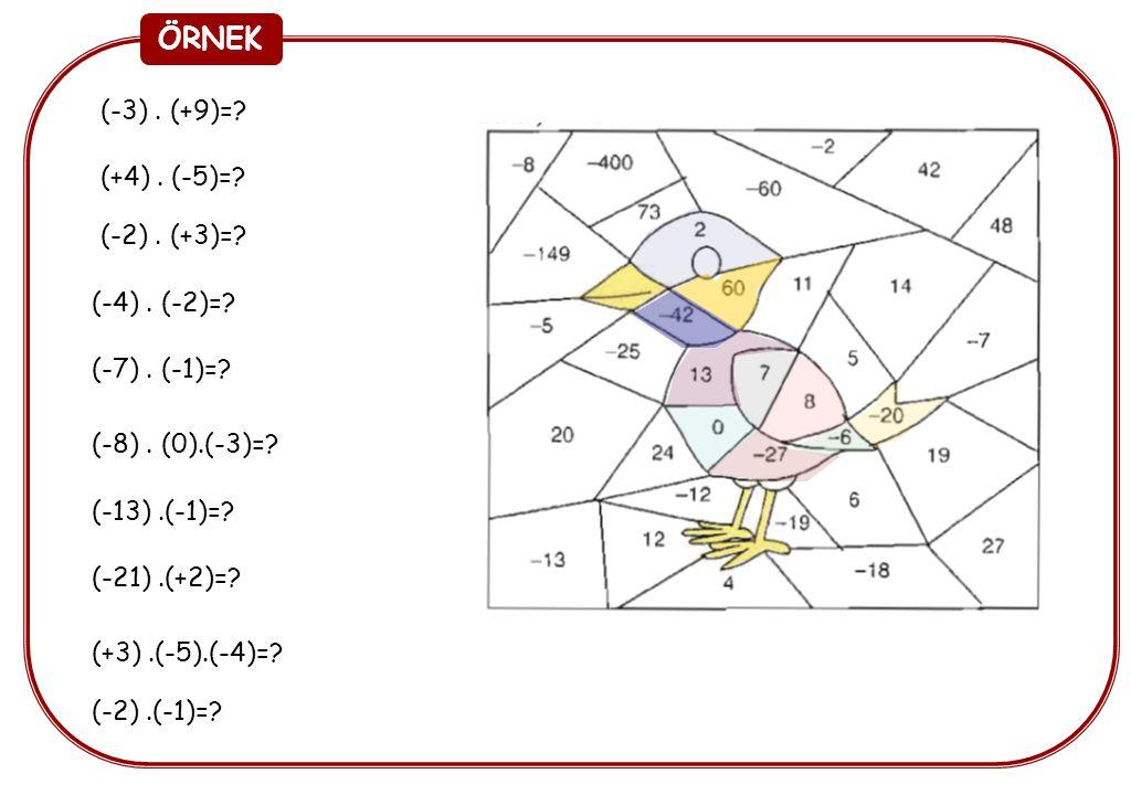 ÖRNEK (-3). (+9)=? (+4). (-5)=? (-2). (+3)=? (-4). (-2)=? (-7). (-1)=? (-8). (0).(-3)=? (-13).(-1)=? (-21).(+2)=? (+3).(-5).(-4)=? (-2).(-1)=?