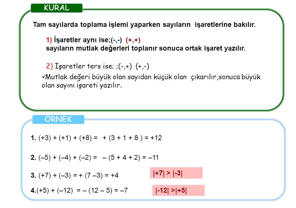 KURAL Tam sayılarda toplama işlemi yaparken sayıların işaretlerine bakılır. ÖRNEK 1. (+3) + (+1) + (+8) = 2. (–5) + (–4) + (–2) = + (3 + 1 + 8 ) = +12