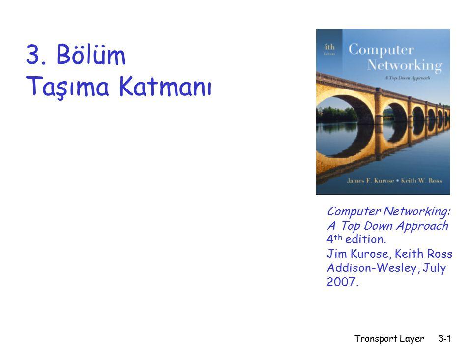 Transport Layer3-1 3.Bölüm Taşıma Katmanı Computer Networking: A Top Down Approach 4 th edition.