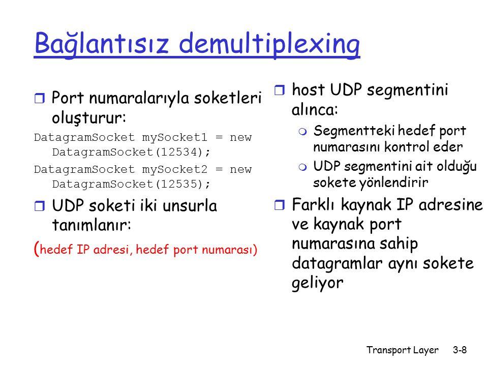 Transport Layer3-8 Bağlantısız demultiplexing r Port numaralarıyla soketleri oluşturur: DatagramSocket mySocket1 = new DatagramSocket(12534); DatagramSocket mySocket2 = new DatagramSocket(12535); r UDP soketi iki unsurla tanımlanır: ( hedef IP adresi, hedef port numarası) r host UDP segmentini alınca: m Segmentteki hedef port numarasını kontrol eder m UDP segmentini ait olduğu sokete yönlendirir r Farklı kaynak IP adresine ve kaynak port numarasına sahip datagramlar aynı sokete geliyor