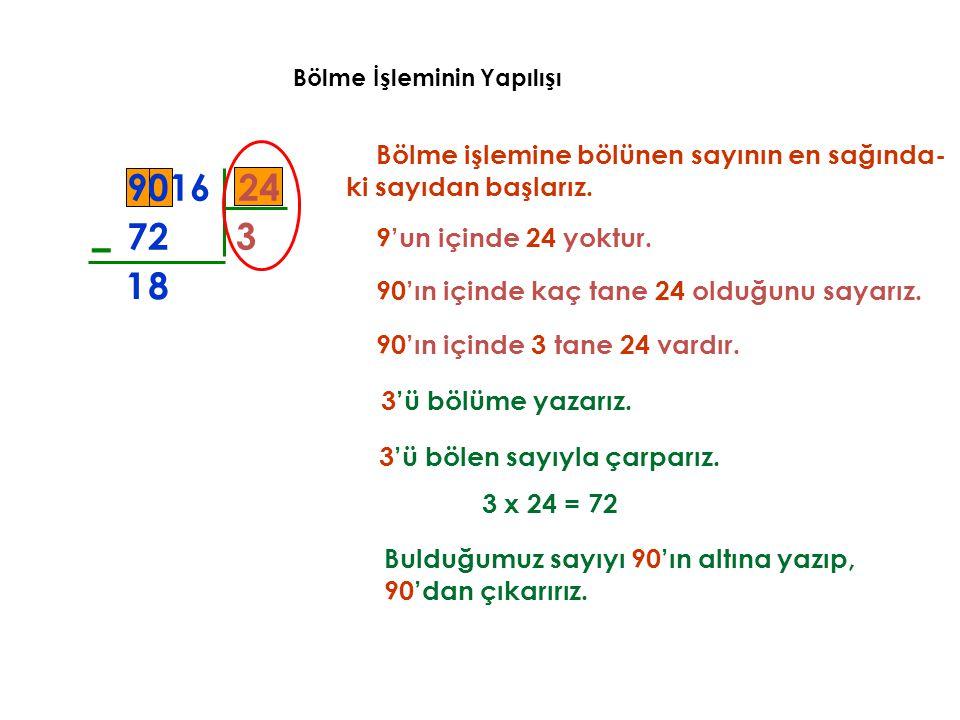 Bölme İşleminin Yapılışı Bölme işlemine bölünen sayının en sağında- ki sayıdan başlarız. 249016 3 72 – 8 9'un içinde 24 yoktur. 90'ın içinde kaç tane