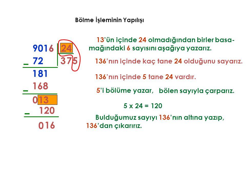 Bölme İşleminin Yapılışı 13'ün içinde 24 olmadığından birler basa- mağındaki 6 sayısını aşağıya yazarız. 3 72 – 8 136'nın içinde kaç tane 24 olduğunu