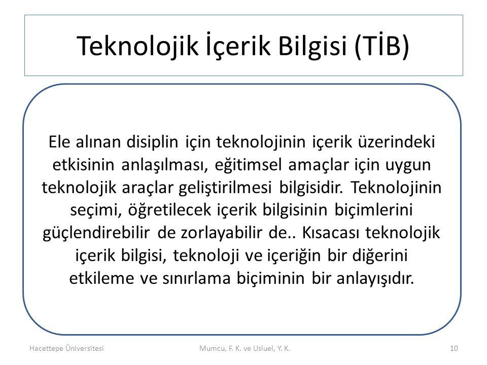 Teknolojik İçerik Bilgisi (TİB) Hacettepe ÜniversitesiMumcu, F. K. ve Usluel, Y. K. Teknolojik İçerik Bilgisi (TİB) 10 Ele alınan disiplin için teknol