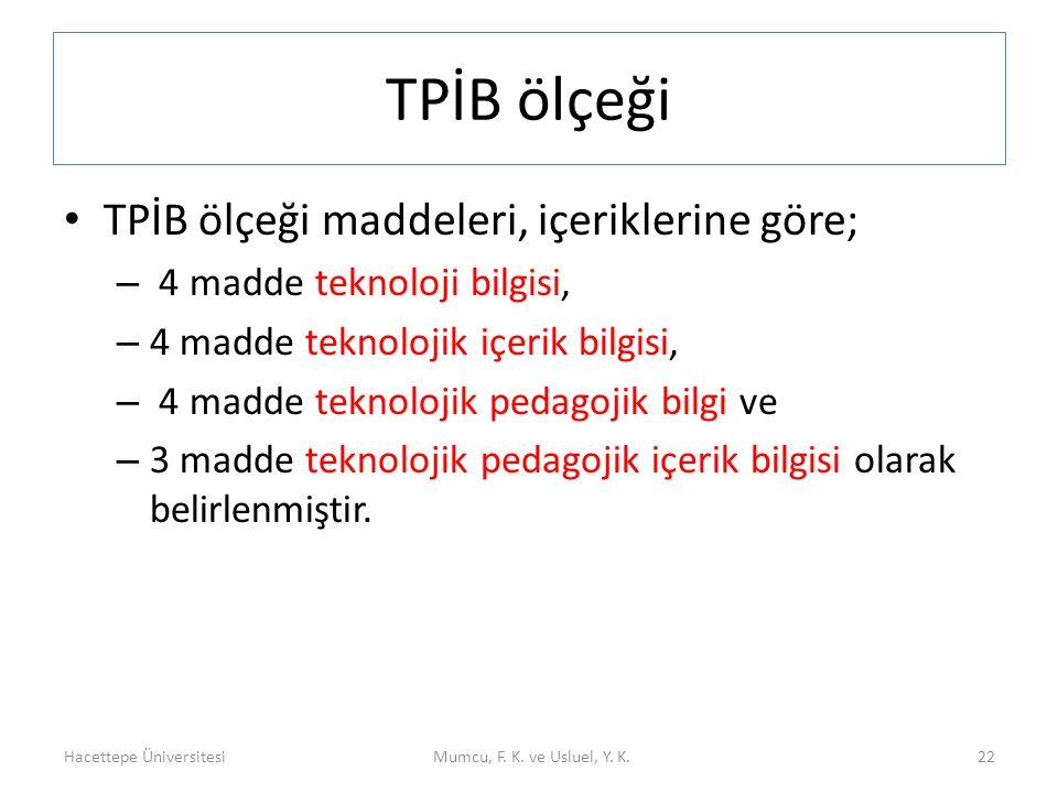 TPİB ölçeği TPİB ölçeği maddeleri, içeriklerine göre; – 4 madde teknoloji bilgisi, – 4 madde teknolojik içerik bilgisi, – 4 madde teknolojik pedagojik