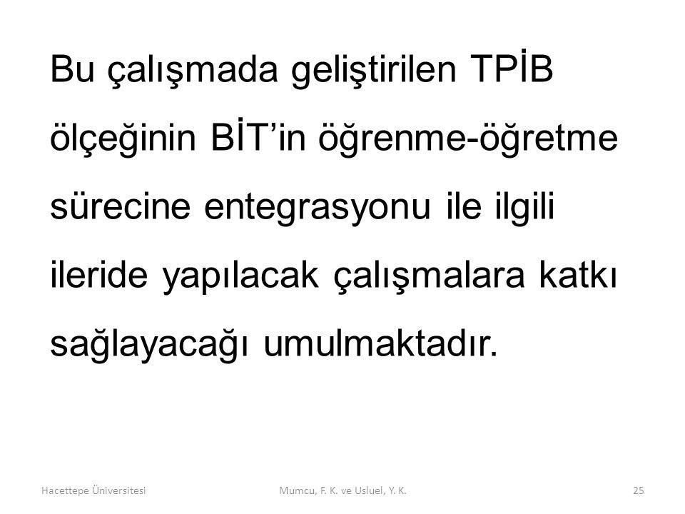 Hacettepe ÜniversitesiMumcu, F. K. ve Usluel, Y. K.25 Bu çalışmada geliştirilen TPİB ölçeğinin BİT'in öğrenme-öğretme sürecine entegrasyonu ile ilgili