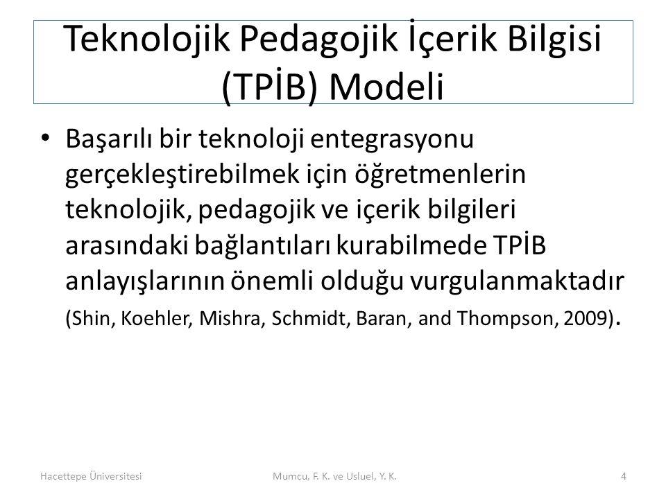 Teknolojik Pedagojik İçerik Bilgisi (TPİB) Modeli Başarılı bir teknoloji entegrasyonu gerçekleştirebilmek için öğretmenlerin teknolojik, pedagojik ve