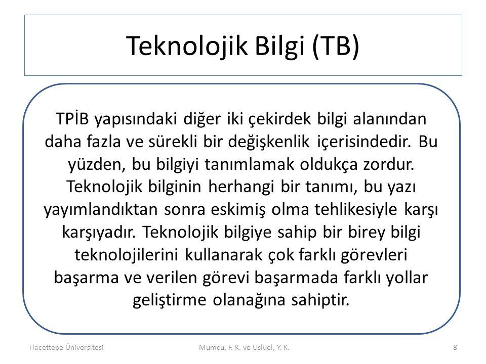 Teknolojik Bilgi (TB) Hacettepe ÜniversitesiMumcu, F. K. ve Usluel, Y. K. Teknoloj ik Bilgi (TB) 8 TPİB yapısındaki diğer iki çekirdek bilgi alanından