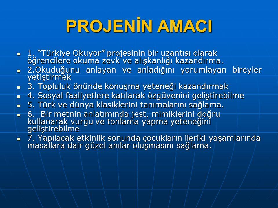 """PROJENİN AMACI 1. """"Türkiye Okuyor"""" projesinin bir uzantısı olarak öğrencilere okuma zevk ve alışkanlığı kazandırma. 1. """"Türkiye Okuyor"""" projesinin bir"""