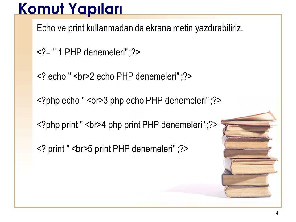 5 Komut Yapıları <?php $tarih = Ocak 26, 2012 ; ?> Bugünün tarihi Yorum <?php // Başlık : ilk PHP scriptim // Yazar : Erman echo Bu bir PHP programı ; ?> Değişkene değer atama Bu değişkeni kullanma