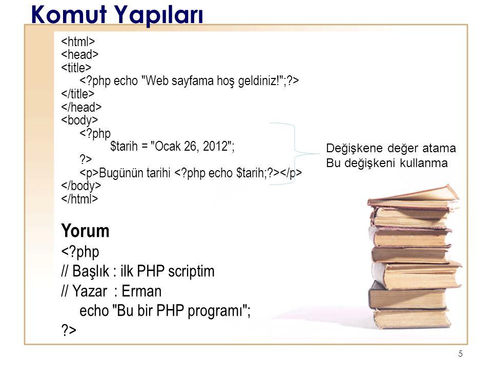 6 Komut Yapıları Yorum <?php # Başlık : ilk PHP scriptim # Yazar : Erman echo Bu bir PHP programı ; ?> Bir satırdan fazla yorum olduğunda <?php /* Başlık : ilk PHP scriptim Yazar : Erman Tarih : 26 Ocak 2012 */ print a ; ?>