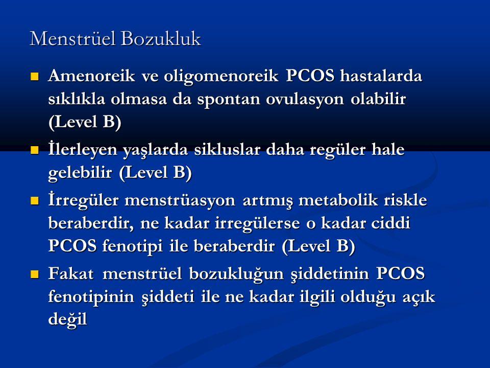 Menstrüel Bozukluk Amenoreik ve oligomenoreik PCOS hastalarda sıklıkla olmasa da spontan ovulasyon olabilir (Level B) Amenoreik ve oligomenoreik PCOS