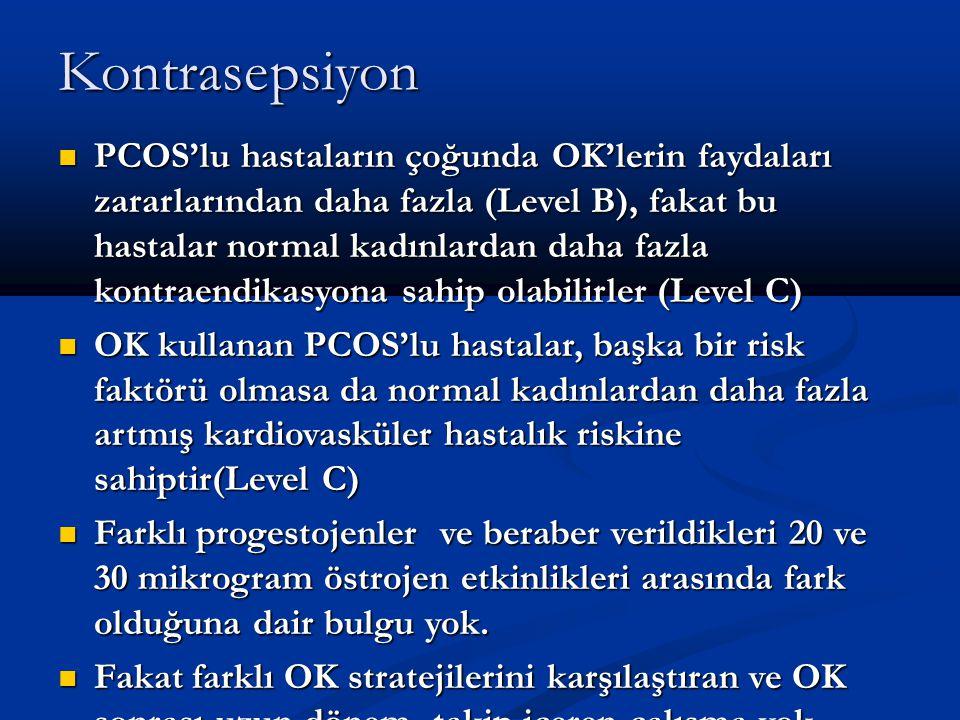 Kontrasepsiyon PCOS'lu hastaların çoğunda OK'lerin faydaları zararlarından daha fazla (Level B), fakat bu hastalar normal kadınlardan daha fazla kontr