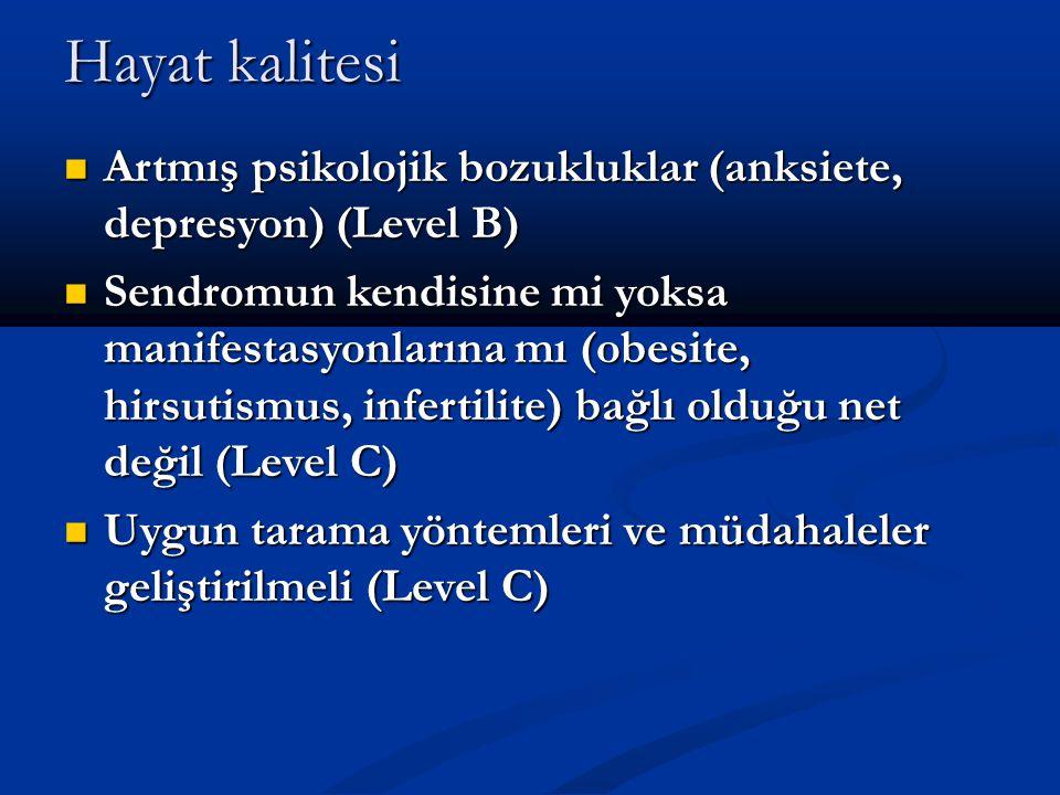 Hayat kalitesi Artmış psikolojik bozukluklar (anksiete, depresyon) (Level B) Artmış psikolojik bozukluklar (anksiete, depresyon) (Level B) Sendromun k