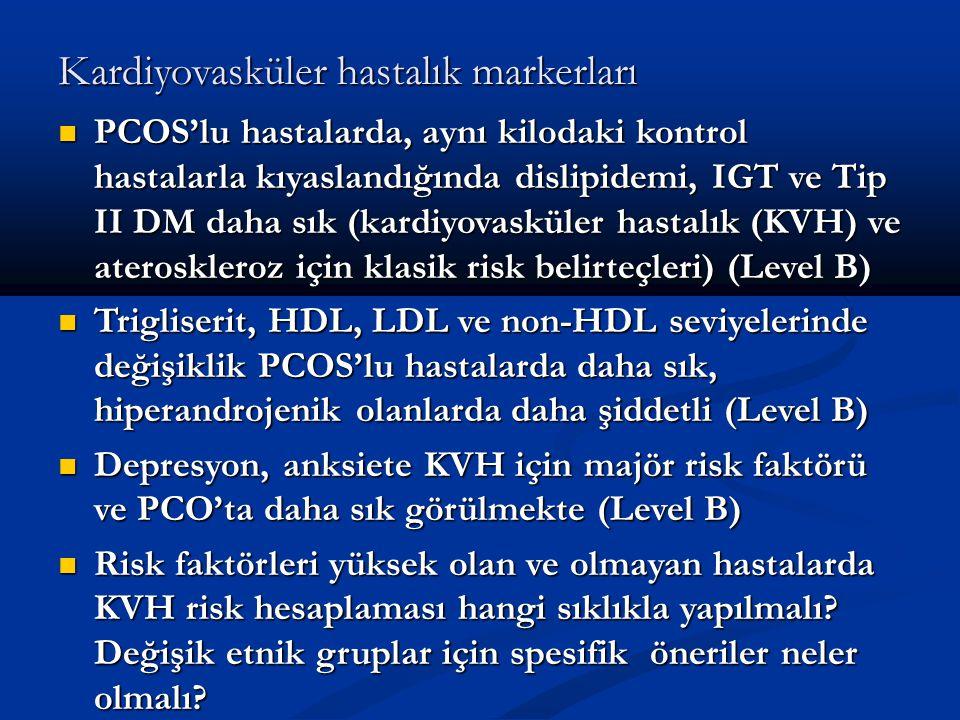 Kardiyovasküler hastalık markerları PCOS'lu hastalarda, aynı kilodaki kontrol hastalarla kıyaslandığında dislipidemi, IGT ve Tip II DM daha sık (kardi