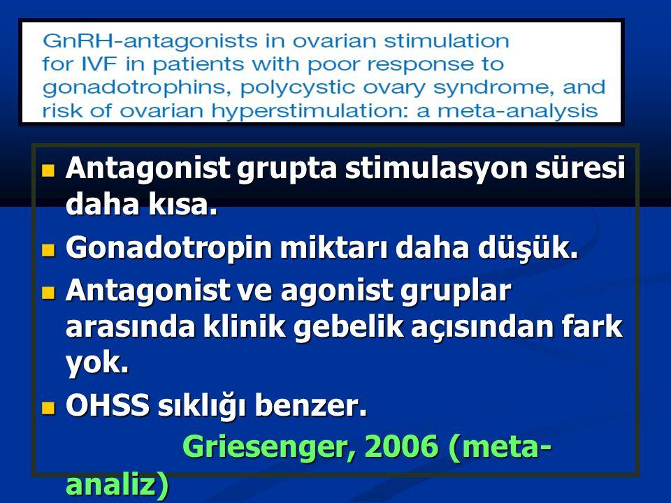 Antagonist grupta stimulasyon süresi daha kısa. Antagonist grupta stimulasyon süresi daha kısa. Gonadotropin miktarı daha düşük. Gonadotropin miktarı