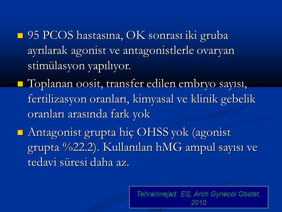 95 PCOS hastasına, OK sonrası iki gruba ayrılarak agonist ve antagonistlerle ovaryan stimülasyon yapılıyor. 95 PCOS hastasına, OK sonrası iki gruba ay