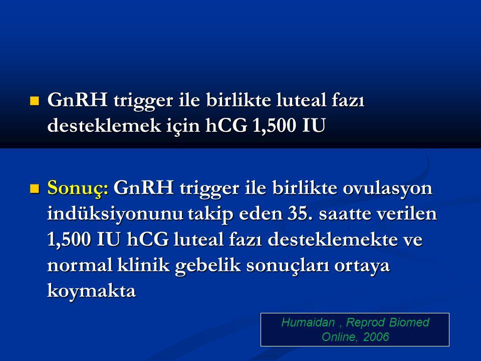 GnRH trigger ile birlikte luteal fazı desteklemek için hCG 1,500 IU GnRH trigger ile birlikte luteal fazı desteklemek için hCG 1,500 IU Sonuç: GnRH tr