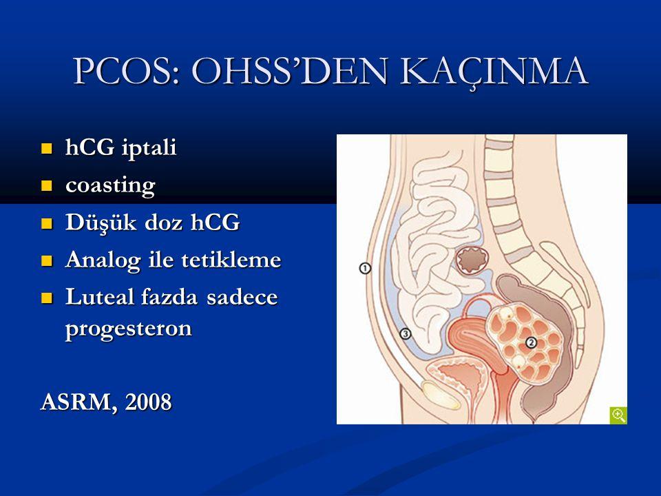 PCOS: OHSS'DEN KAÇINMA hCG iptali hCG iptali coasting coasting Düşük doz hCG Düşük doz hCG Analog ile tetikleme Analog ile tetikleme Luteal fazda sade