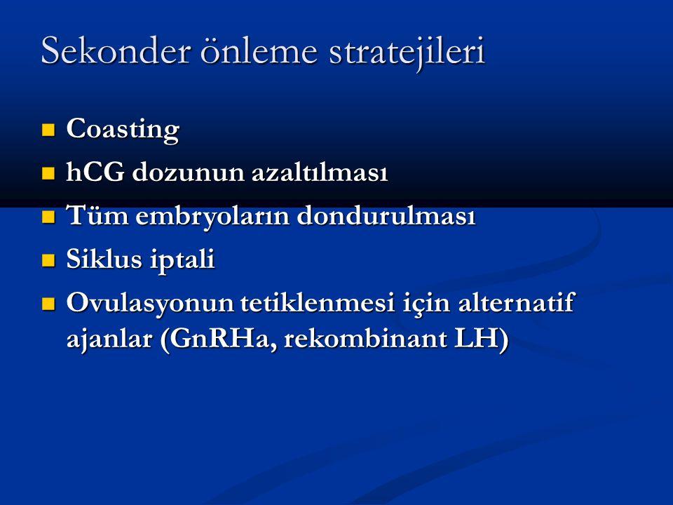 Sekonder önleme stratejileri Coasting Coasting hCG dozunun azaltılması hCG dozunun azaltılması Tüm embryoların dondurulması Tüm embryoların dondurulma