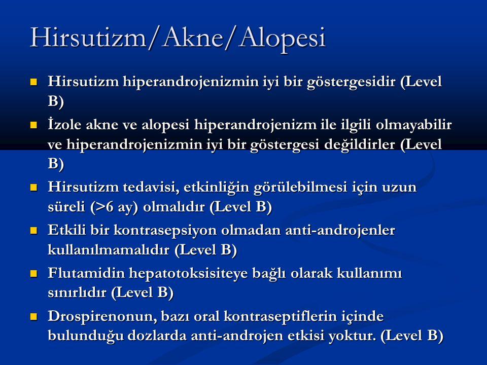 Hirsutizm/Akne/Alopesi Hirsutizm hiperandrojenizmin iyi bir göstergesidir (Level B) Hirsutizm hiperandrojenizmin iyi bir göstergesidir (Level B) İzole