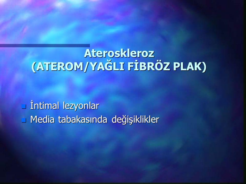 Ateroskleroz (ATEROM/YAĞLI FİBRÖZ PLAK) n İntimal lezyonlar n Media tabakasında değişiklikler