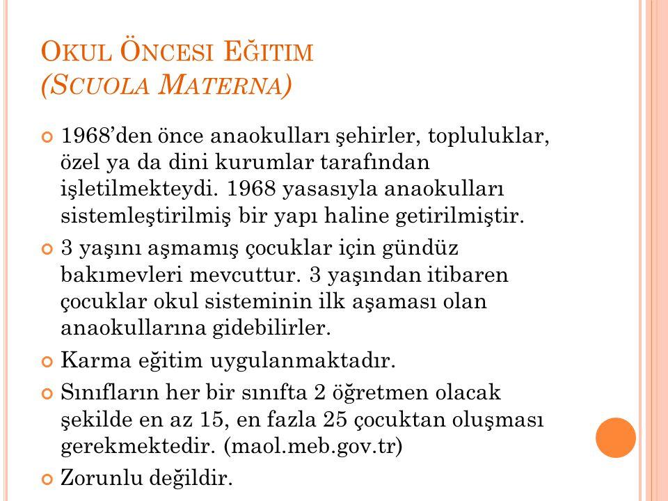 O KUL Ö NCESI E ĞITIM (S CUOLA M ATERNA ) 1968'den önce anaokulları şehirler, topluluklar, özel ya da dini kurumlar tarafından işletilmekteydi. 1968 y
