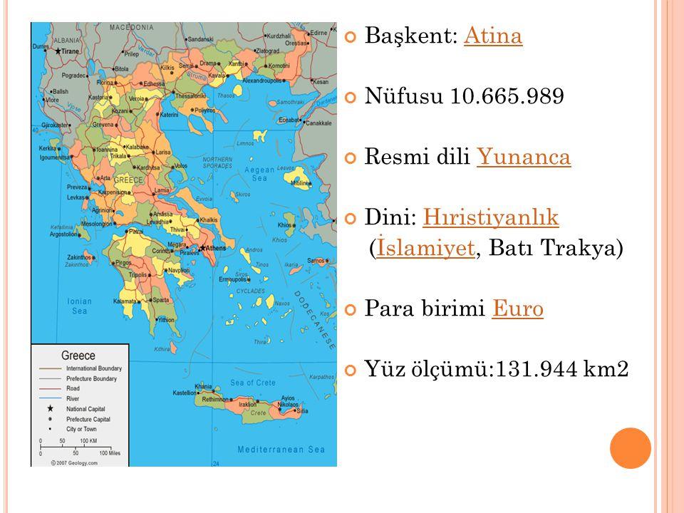 Başkent: AtinaAtina Nüfusu 10.665.989 Resmi dili YunancaYunanca Dini: HıristiyanlıkHıristiyanlık (İslamiyet, Batı Trakya)İslamiyet Para birimi EuroEur