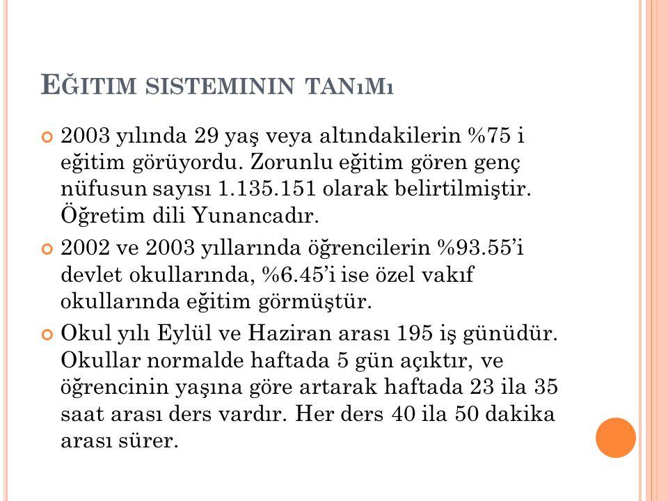 E ĞITIM SISTEMININ TANıMı 2003 yılında 29 yaş veya altındakilerin %75 i eğitim görüyordu. Zorunlu eğitim gören genç nüfusun sayısı 1.135.151 olarak be