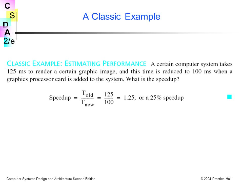 S 2/e C D A Computer Systems Design and Architecture Second Edition© 2004 Prentice Hall A Classic Example