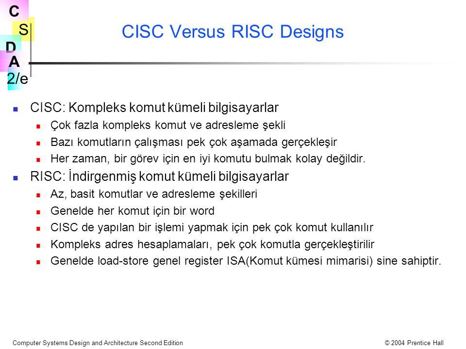 S 2/e C D A Computer Systems Design and Architecture Second Edition© 2004 Prentice Hall CISC Versus RISC Designs CISC: Kompleks komut kümeli bilgisaya
