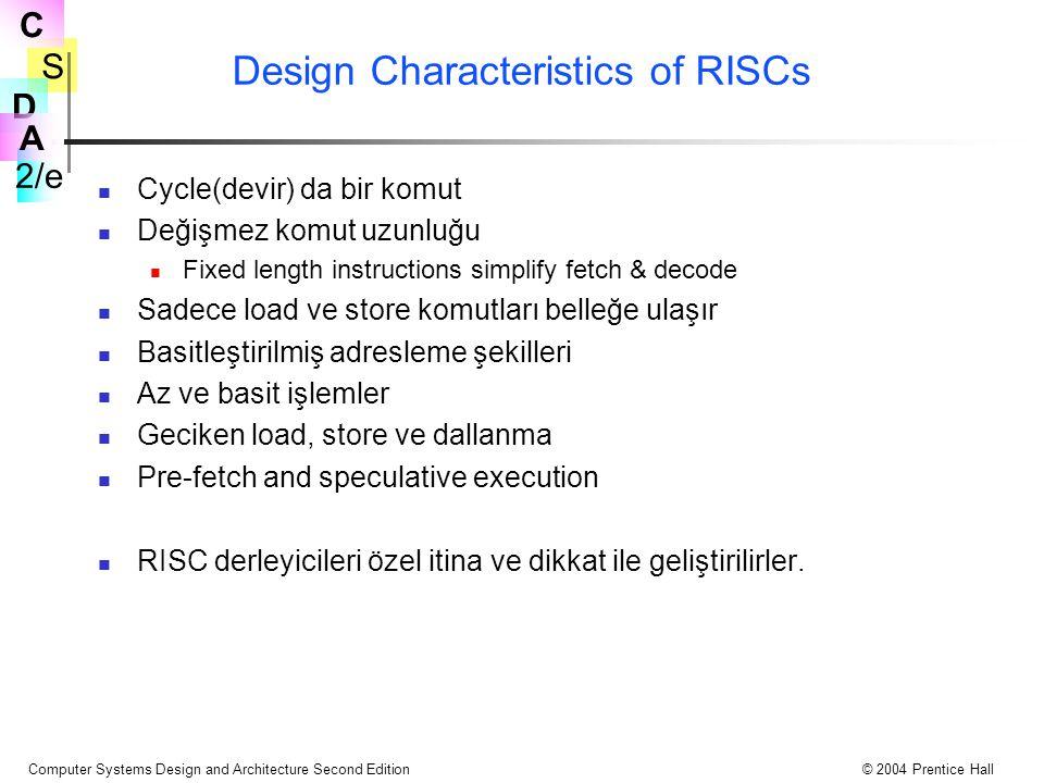 S 2/e C D A Computer Systems Design and Architecture Second Edition© 2004 Prentice Hall Design Characteristics of RISCs Cycle(devir) da bir komut Deği