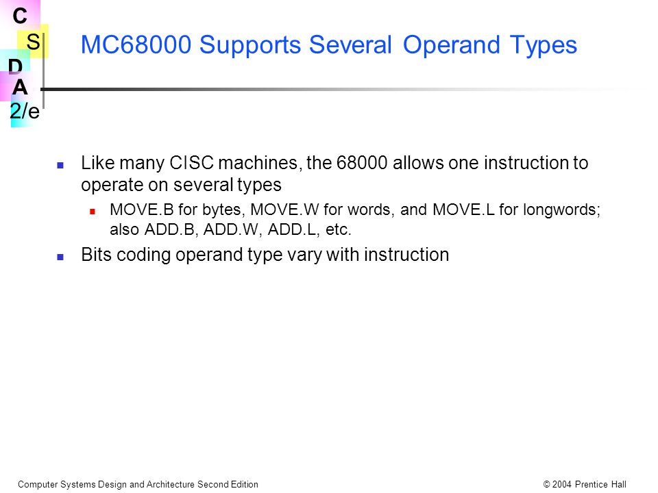 S 2/e C D A Computer Systems Design and Architecture Second Edition© 2004 Prentice Hall MC68000 Supports Several Operand Types Like many CISC machines, the 68000 allows one instruction to operate on several types MOVE.B for bytes, MOVE.W for words, and MOVE.L for longwords; also ADD.B, ADD.W, ADD.L, etc.