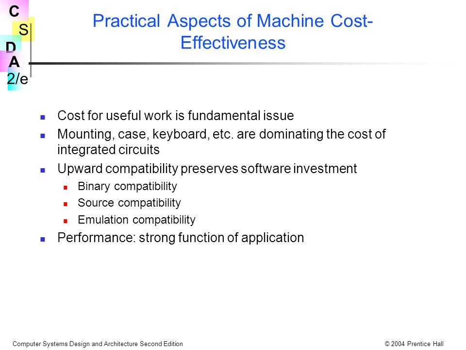 S 2/e C D A Computer Systems Design and Architecture Second Edition© 2004 Prentice Hall Makinenin Maliyet Uygunluğu Yönü Faydalı işler için maliyet temel meseldir.