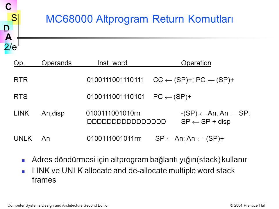 S 2/e C D A Computer Systems Design and Architecture Second Edition© 2004 Prentice Hall MC68000 Altprogram Return Komutları Adres döndürmesi için altp