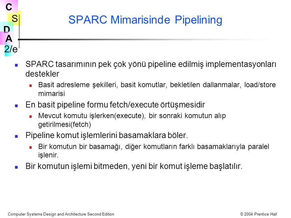 S 2/e C D A Computer Systems Design and Architecture Second Edition© 2004 Prentice Hall SPARC Mimarisinde Pipelining SPARC tasarımının pek çok yönü pi