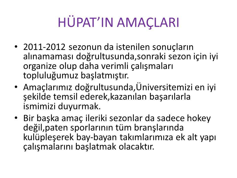 HÜPAT'IN AMAÇLARI 2011-2012 sezonun da istenilen sonuçların alınamaması doğrultusunda,sonraki sezon için iyi organize olup daha verimli çalışmaları to