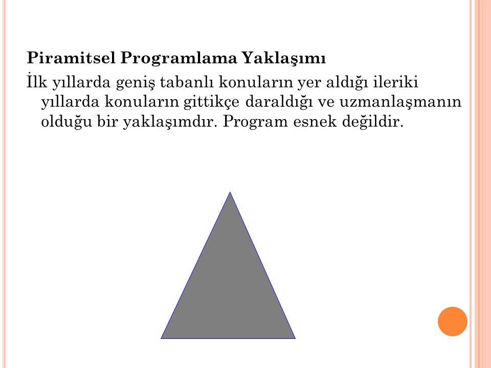Piramitsel Programlama Yaklaşımı İlk yıllarda geniş tabanlı konuların yer aldığı ileriki yıllarda konuların gittikçe daraldığı ve uzmanlaşmanın olduğu