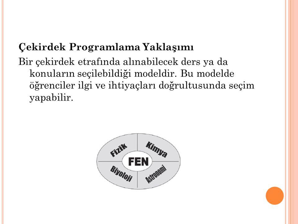 Çekirdek Programlama Yaklaşımı Bir çekirdek etrafında alınabilecek ders ya da konuların seçilebildiği modeldir. Bu modelde öğrenciler ilgi ve ihtiyaçl