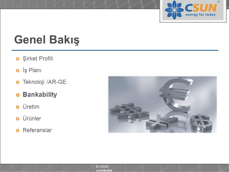 © CSUN - confidential Genel Bakış  Şirket Profili  İş Planı  Teknoloji /AR-GE  Bankability  Üretim  Ürünler  Referanslar