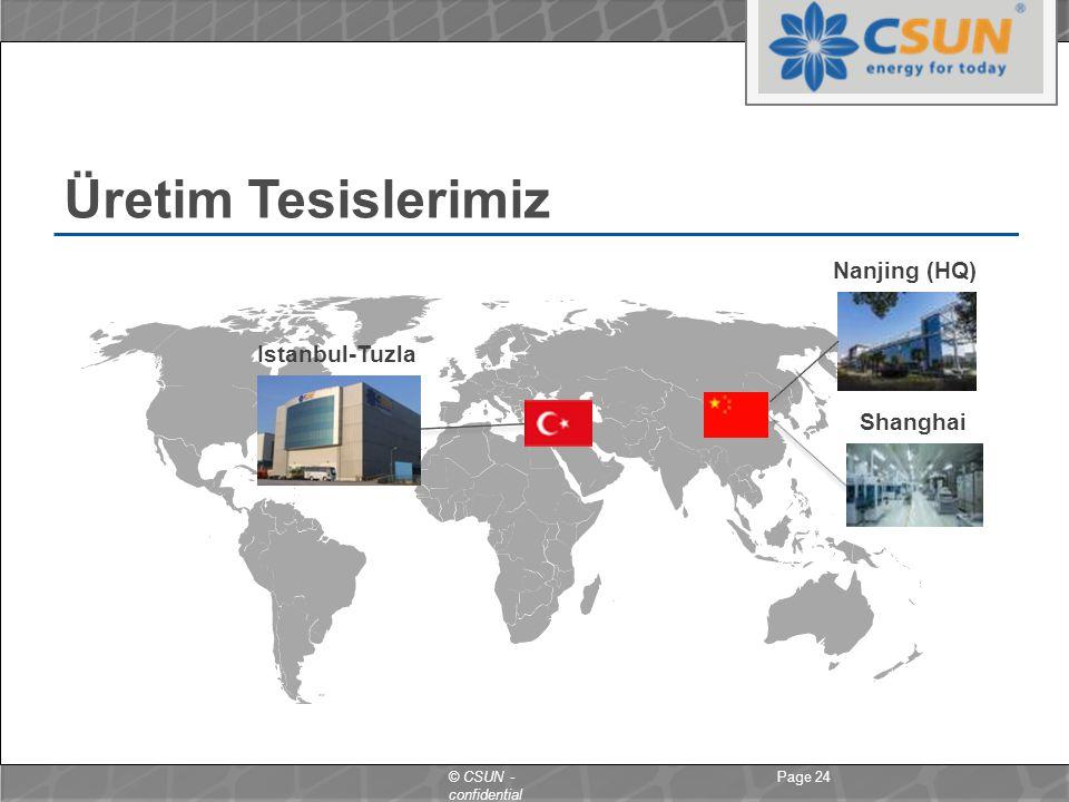 © CSUN - confidential Üretim Tesislerimiz Page 24 Nanjing (HQ) Shanghai Istanbul-Tuzla