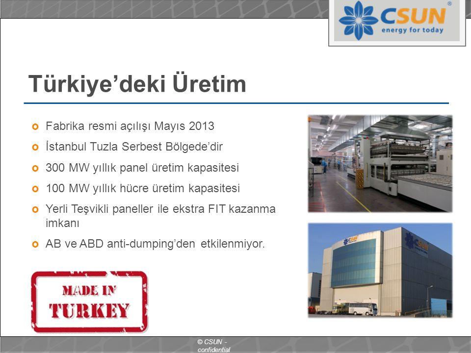 © CSUN - confidential  Fabrika resmi açılışı Mayıs 2013  İstanbul Tuzla Serbest Bölgede'dir  300 MW yıllık panel üretim kapasitesi  100 MW yıllık hücre üretim kapasitesi  Yerli Teşvikli paneller ile ekstra FIT kazanma imkanı  AB ve ABD anti-dumping'den etkilenmiyor.