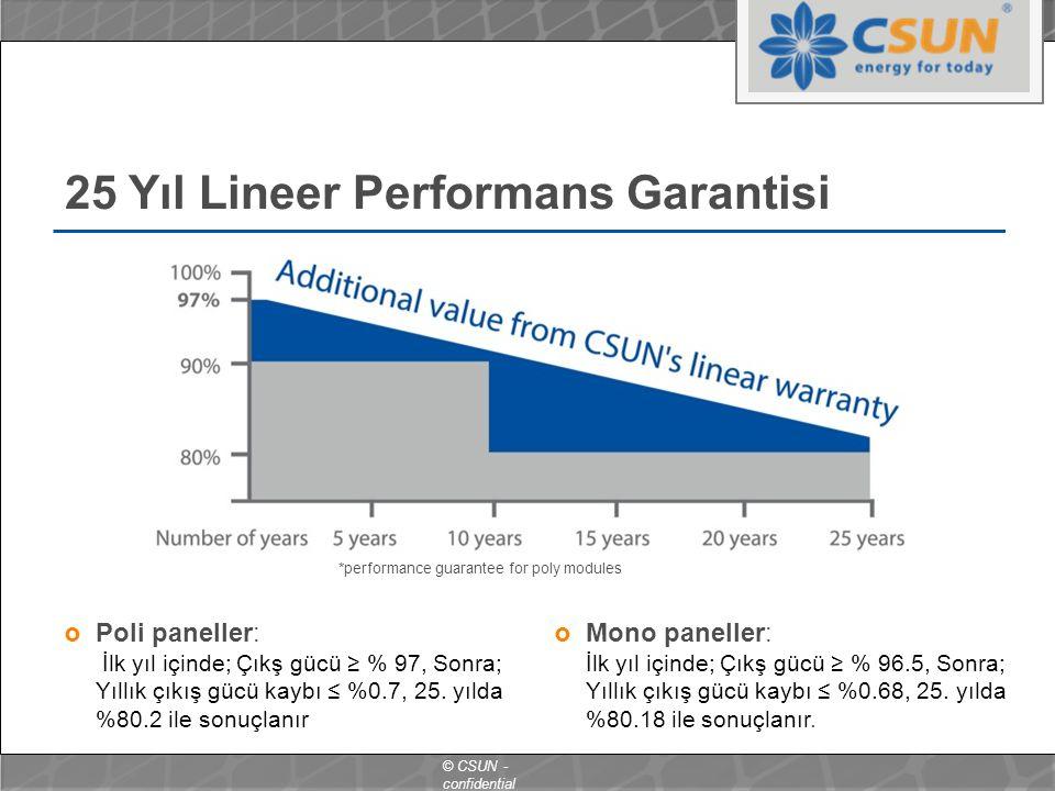 © CSUN - confidential 25 Yıl Lineer Performans Garantisi  Mono paneller: İlk yıl içinde; Çıkş gücü ≥ % 96.5, Sonra; Yıllık çıkış gücü kaybı ≤ %0.68, 25.