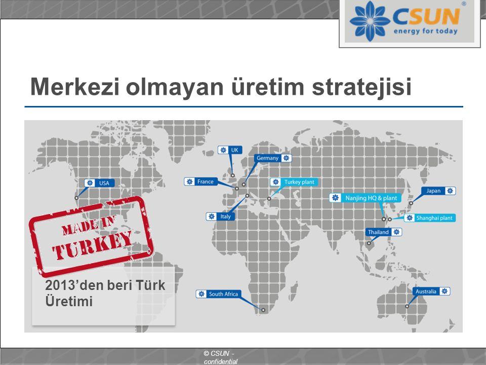 © CSUN - confidential Merkezi olmayan üretim stratejisi 2013'den beri Türk Üretimi