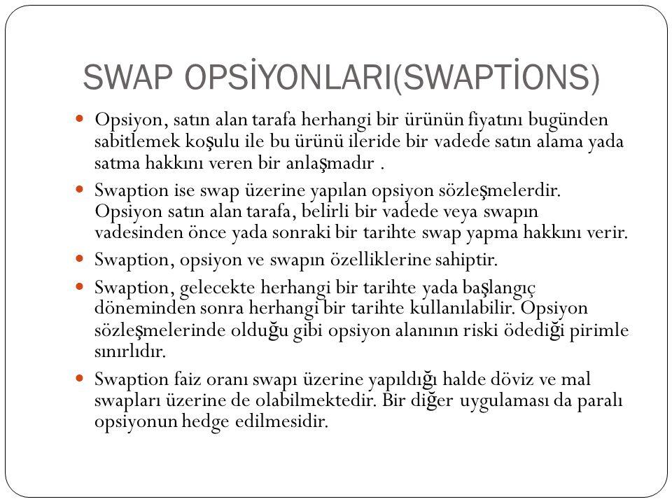 SWAP OPSİYONLARI(SWAPTİONS) Opsiyon, satın alan tarafa herhangi bir ürünün fiyatını bugünden sabitlemek ko ş ulu ile bu ürünü ileride bir vadede satın