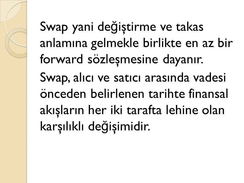 Swap yani de ğ iştirme ve takas anlamına gelmekle birlikte en az bir forward sözleşmesine dayanır. Swap, alıcı ve satıcı arasında vadesi önceden belir