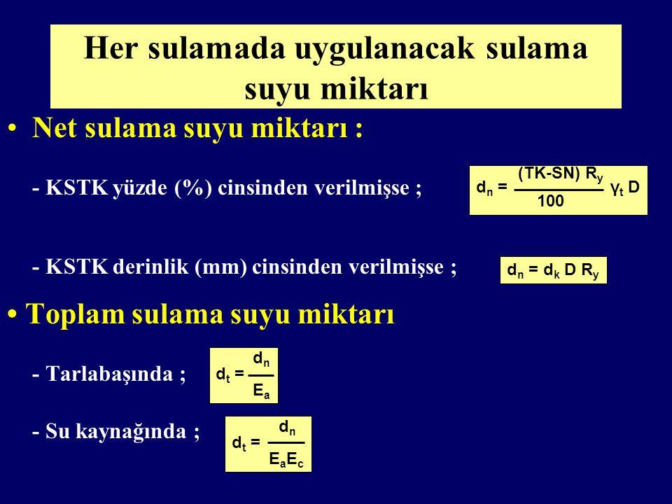 dn = Her sulamada uygulanacak net sulama suyu miktarı, mm TK =Tarla kapasitesi, % SN= Solma noktası, % γt =Toprağın hacim ağırlığı, g/cm 3 Ry= Kullanılabilir su tutma kapasitesinin tüketilmesine izin verilen kısmı, % D= Islatılacak toprak derinliği, mm dk= Kullanılabilir su tutma kapasitesi, mm/m
