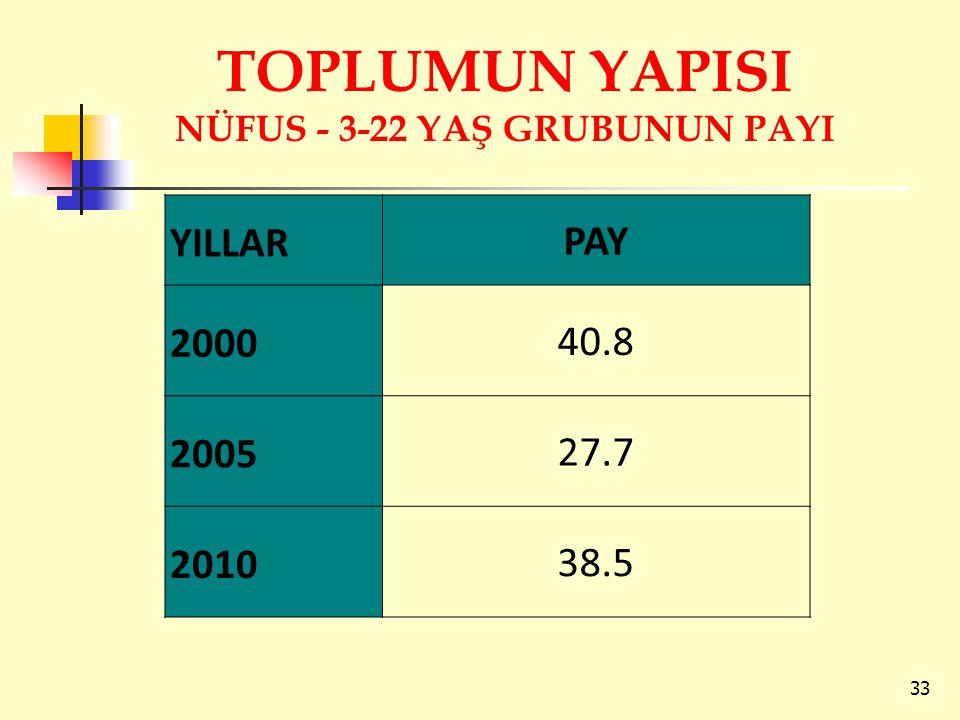 TOPLUMUN YAPISI NÜFUS - 3-22 YAŞ GRUBUNUN PAYI 33 YILLARPAY 200040.8 200527.7 201038.5
