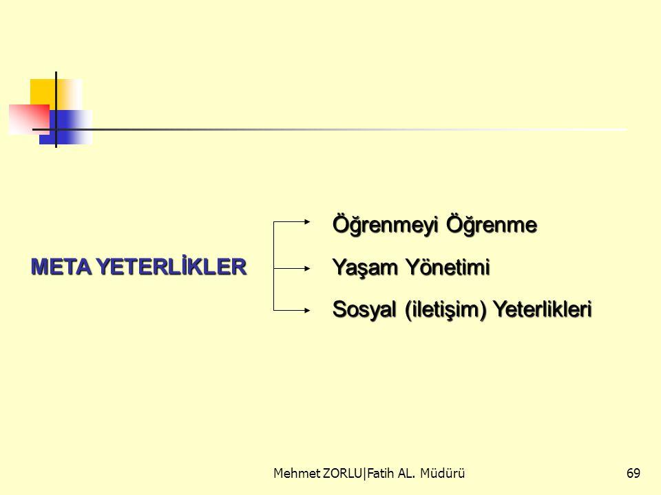 Mehmet ZORLU|Fatih AL. Müdürü69 META YETERLİKLER Öğrenmeyi Öğrenme Yaşam Yönetimi Sosyal (iletişim) Yeterlikleri